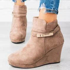 Pentru Femei Piele de Căprioară Platforme Înalte Cizme Botine Vârf scăzut Deget rotund cu Cataramă Culoare solida pantofi