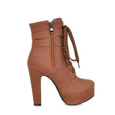 Mulheres PU Salto robusto Bombas Plataforma Botas na panturrilha com Zíper Aplicação de renda sapatos