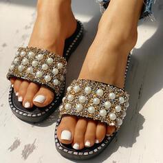 De mujer PVC Tacón plano Pantuflas con Rhinestone Perlas de imitación zapatos
