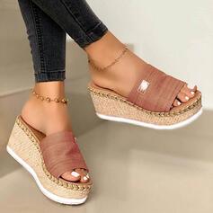 De mujer Ante Tipo de tacón Sandalias Cuñas Encaje Pantuflas con Otros zapatos