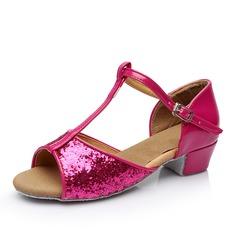 Vrouwen Latijn Sandalen Kunstleer Sprankelende Glitter met T-Riempjes Gesp Hol-out Latijn