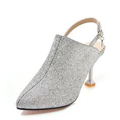 De mujer Brillo Chispeante Tacón stilettos Sandalias Salón Cerrados Solo correa con Hebilla zapatos