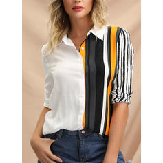 Striped Lapel Long Sleeves Button Up Casual Elegant Shirt Blouses