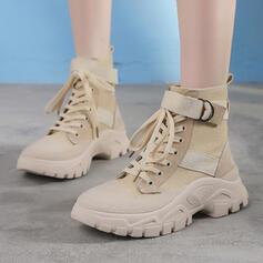 De mujer Piel Tipo de tacón Cuñas Botas con Cordones zapatos