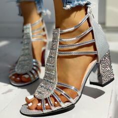 De mujer PU Tacón ancho Sandalias Salón Encaje con Rhinestone Lentejuelas Cremallera zapatos