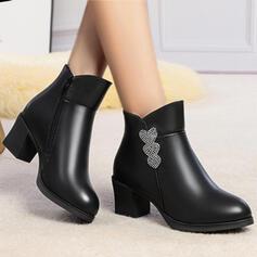 婦人向け 人形 チャンクヒール とともに ジッパー 靴
