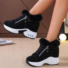 Women's Suede Wedge Heel Platform Winter Boots With Zipper Faux-Fur Solid Color shoes