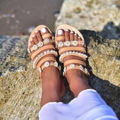 PU Επίπεδη φτέρνα Σανδάλια Διαμερίσματα Με Απομιμήσεις Pearl Λουλούδι παπούτσια