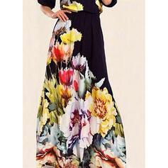 Impresión/Floral Mangas 1/2 Acampanado Patinador Fiesta/Elegante Maxi Vestidos