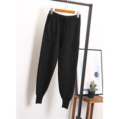Solido tasche Coulisse Casuale pianura Pantaloni