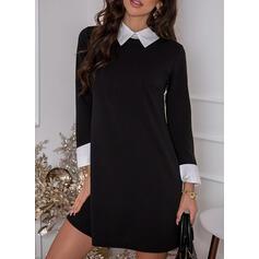 カラーブロック 長袖 シフトドレス 膝上 エレガント ドレス