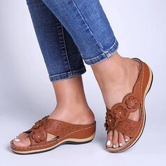 De mujer PU Tacón plano Sandalias Encaje Pantuflas con Agujereado Flor zapatos