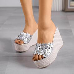De mujer PU Tipo de tacón Sandalias Pantuflas con Lentejuelas zapatos