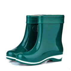 Femmes PVC Talon bas Bout fermé Bottes Bottines Bottes de pluie avec Boucle chaussures