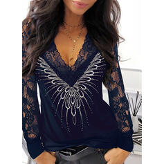 твердый кружевной блестки V шеи Длинные рукова элегантный Блузы