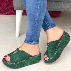 De mujer Ante Tipo de tacón Sandalias Cuñas con Cremallera zapatos