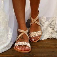 De mujer Encaje PU Tacón plano Sandalias Encaje Solo correa con Flor Cruzado zapatos