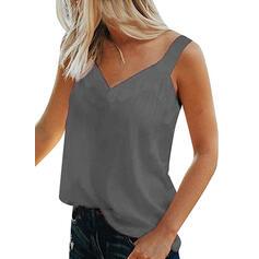 Sólido Cuello en V Sin mangas Casual Básico Camisetas sin mangas