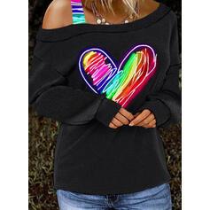 Tisk Srdce Jedno rameno Dlouhé rukávy Neformální Blůzy