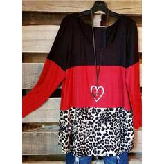 Color Block Leopard Kulatý Výstřih Dlouhé rukávy Neformální Blůzy