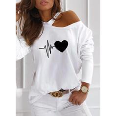 Stampa Cuore Una spalla Maniche lunghe Casuale Camicie