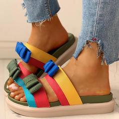 De mujer PU Tacón plano Sandalias Encaje Pantuflas con Bowknot zapatos