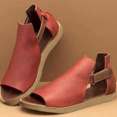 De mujer PU Tacón plano Sandalias con Agujereado zapatos