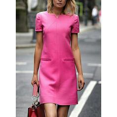 固体 半袖 シフトドレス 膝上 エレガント ドレス