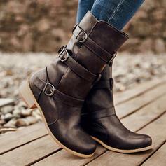 婦人向け PU ローヒール とともに バックル ソリッドカラー 靴