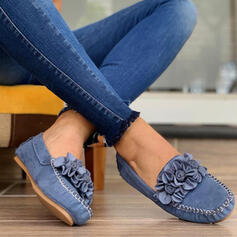 Women's Microfiber Flat Heel Flats Low Top With Flower Solid Color shoes