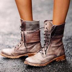 Dámské PU Nízký podpatek Boty S Šněrovací obuv