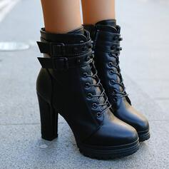 Dámské PU Široký podpatek Boty Podpatky S Zip Šněrovací Solid Color obuv