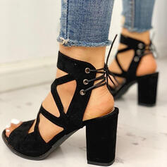 Women's Suede Chunky Heel Sandals Pumps Peep Toe Heels With Lace-up shoes