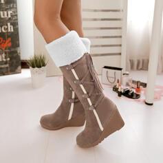 Pentru Femei PU Platforme Înalte Cizme până la jumătatea gambei Cizme de Iarnă cu Lace-up pantofi