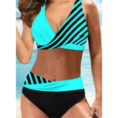 Pasek Nadruk W prążki Dekolt w kształcie litery V Seksowny Wintage Bikini Stroje kąpielowe