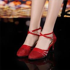 Mulheres Salão de Baile Saltos Sandálias Couro Moderno