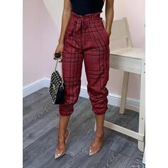 Kostkovaný Vázanka Dlouho Elegantní Sexy Kalhoty