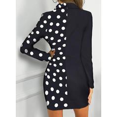 PolkaDot Long Sleeves Bodycon Above Knee Casual/Elegant Dresses