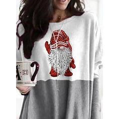 Nyomtatás Színblokk Kulatý Výstřih Dlouhé rukávy Vánoční mikina