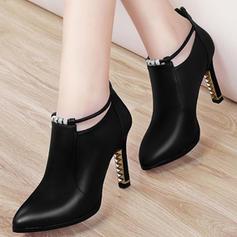 De mujer PU Tacón stilettos Salón Cerrados Botas Botas al tobillo con Hebilla zapatos