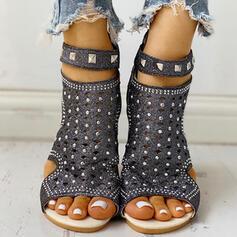 De mujer PU Tacón bajo Sandalias Encaje con Rhinestone Rivet zapatos