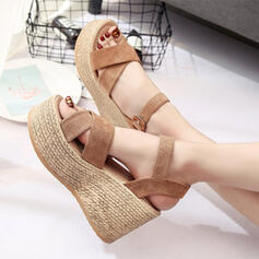 De mujer Ante Tipo de tacón Sandalias Cuñas con Hebilla zapatos