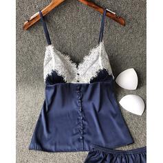 Cuello en V Sin mangas Color sólido De moda Elegante Cami y conjuntos cortos
