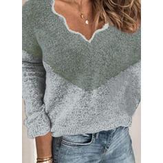 Színblokk V-nyak Hétköznapokra πουλόβερ