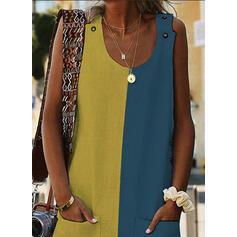 Bloque de color Sin mangas Tendencia Sobre la Rodilla Casual Vestidos