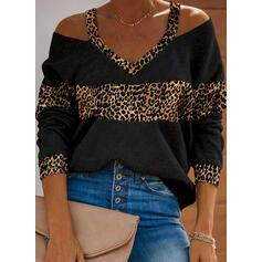 leopardo Spalle esposte Maniche lunghe Casuale Camicie
