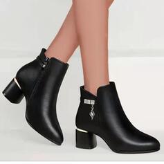 婦人向け PU チャンクヒール ブーツ アンクルブーツ とともに ソリッドカラー 靴