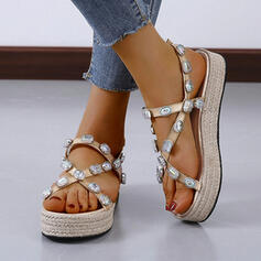De mujer Cuero Tipo de tacón Sandalias Plataforma Encaje Solo correa Pantuflas con Rhinestone zapatos