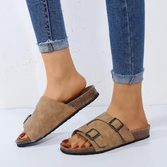 De mujer Cuero Tacón plano Sandalias Planos Solo correa Pantuflas con Hebilla zapatos