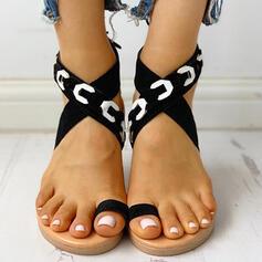 De mujer PU Tacón plano Sandalias Encaje Pantuflas con Cruzado zapatos